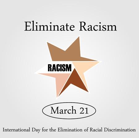racismo: Sin racismo- gráfico que muestra unidad- día internacional para la eliminación de racismo- 21 de de marzo de