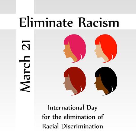 racismo: 21 de marzo eliminar día racismo Vectores