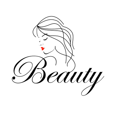 wavy hair: Beautiful Woman with wavy hair and text beauty