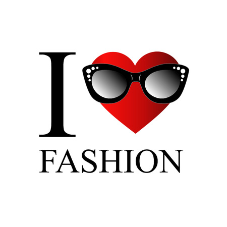 eyewear fashion: I love fashion- heart wearing stylish eyewear Illustration
