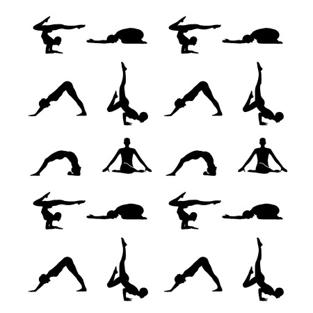 inhalation: Yoga poses silhouette wallpaper
