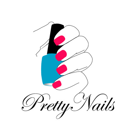 Pretty nails with a nail polish in hand Illustration
