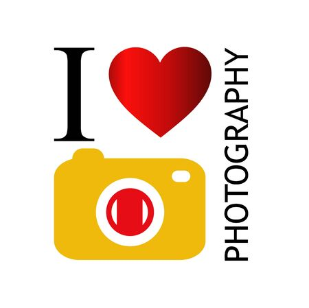 I love photography- with camera and red heart