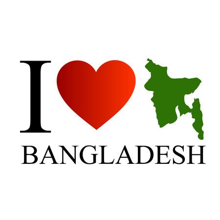 rectangulo: Me encanta Bangladesh con el mapa Vectores