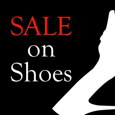 Sale on shoes with silhouette of a shoe 矢量图像