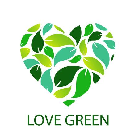 녹색 잎이 마음을 형성하는 녹색 사랑 일러스트