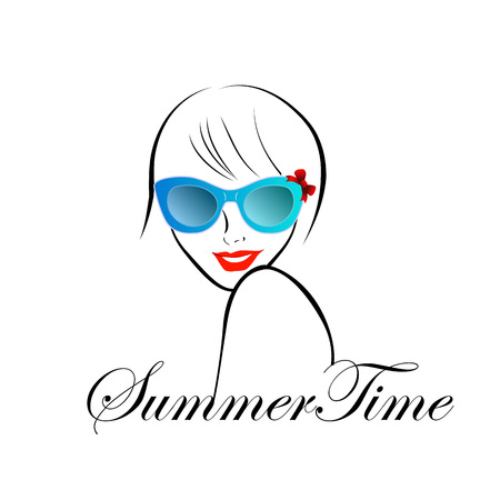 Lady with Style for summer time 向量圖像