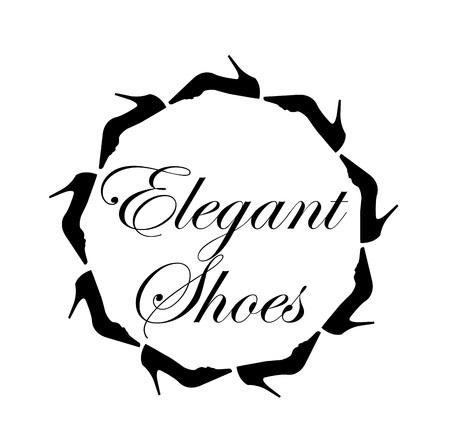 Elegante schoenen tekst met een cirkel van damesschoenen