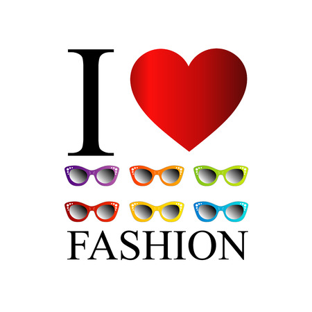eye wear: I love fashion with colorful eye wear Illustration