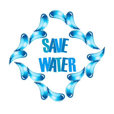 Save water graphic with water droplets Ilustracja