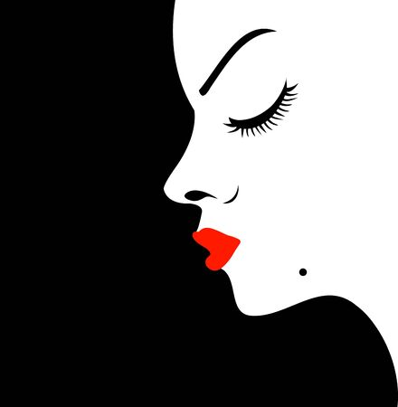 CHIN: Girl with a beauty spot on chin Illustration