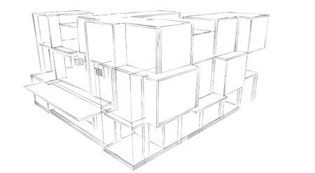 building sketch: Sketch showing facade of a building