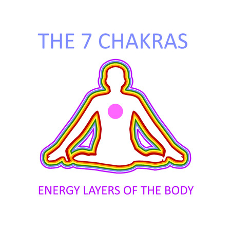 Graphic showing the seven chakras of the human body with heart producing energy that moves in all directions creating layers  イラスト・ベクター素材