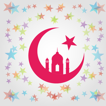 Colorful Eid card with Mosque dome and minaret silhouette