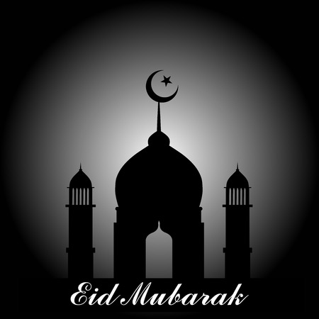Mosque dome and minaret silhouette with Eid Mubarak