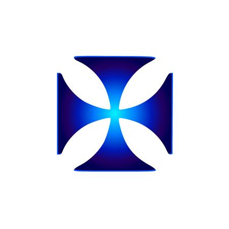 Glowing symbol Cross Pattee (Christianity) Ilustração