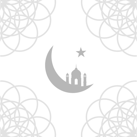 Eid card with Mosque and crescent moon- symbol of the religion of Islam 向量圖像