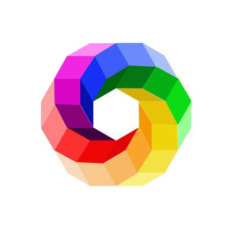 rainbow: 3d illusion color wheel forming a hexagon Illustration