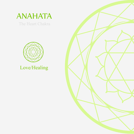 Anahata- The heart chakra which stands for love or healing. Thw word anahata means unhurt, unstruck, and unbeaten Stock Vector - 89710427
