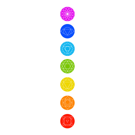 Chakra icons with respective colors, names and their meanings