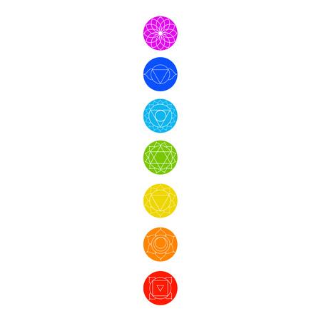 Chakrapictogrammen met respectieve kleuren, namen en hun betekenissen