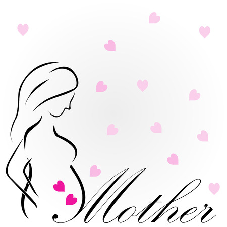 'Mother'- An epitome of love. Drawing of a pregnant lady Foto de archivo - 103035926