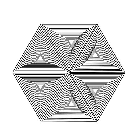 Optical illusion forming hexagon with triangles- Line composition forming different shapes Çizim