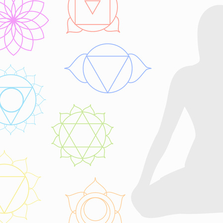 aura energy: Chakra icons in respective colors with meditating person