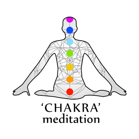 Chakra meditation with respective colors Illustration