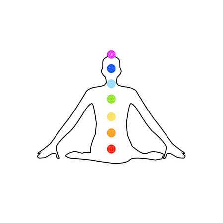 healing: The seven chakras with their names Illustration