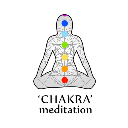 Chakra meditation with respective colors  イラスト・ベクター素材