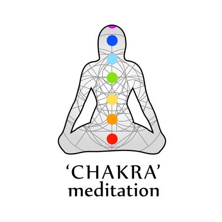 Chakra meditation with respective colors Ilustração