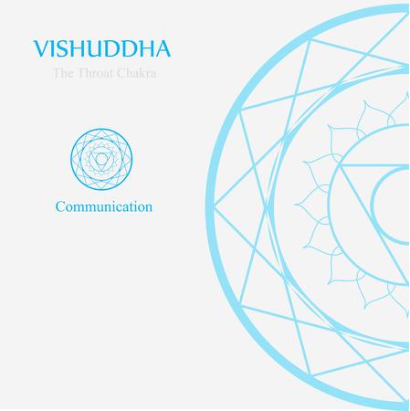 Vishuddha - Het keelchakra dat staat voor communicatie. Het woord vishuddha betekent zuiverheid en zuivering Stockfoto - 89710439
