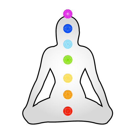 Icons of the 7 chakras with respective colors- meditation Illustration