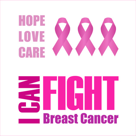 I can fight breast cancer poster with pink ribbon Ilustração