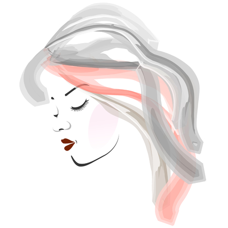 Watercolor girl portrait- Side view of a young womans face