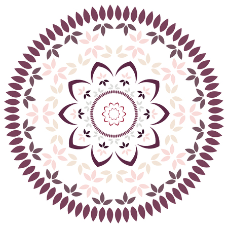Leaf and petal floral Mandala with radial symmetry