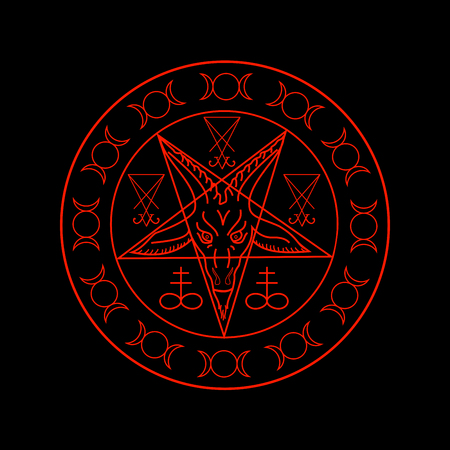 Wiccan symbols- Cross of Sulfur, Triple Goddess, Sigil of Baphomet and Lucifer Фото со стока - 114583612