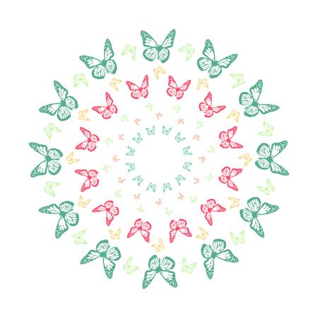 Vivid butterfly kaleidoscope mandala  イラスト・ベクター素材