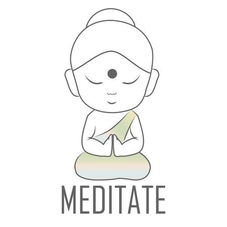 Bouddha Gautama assis en position du lotus avec un message à méditer Vecteurs
