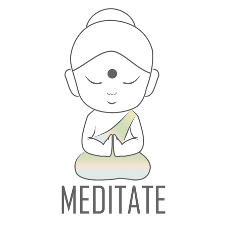 Gautama buddha sitting in lotus position with a message to Meditate Ilustração