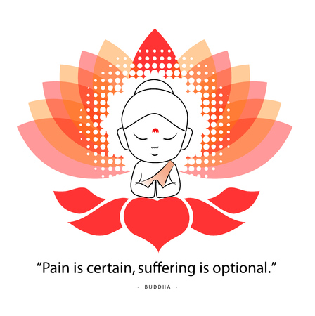 Buddha saying Namaste while sitting on a sacred lotus. Famous quote of Buddha- Pain is certain, suffering is optional