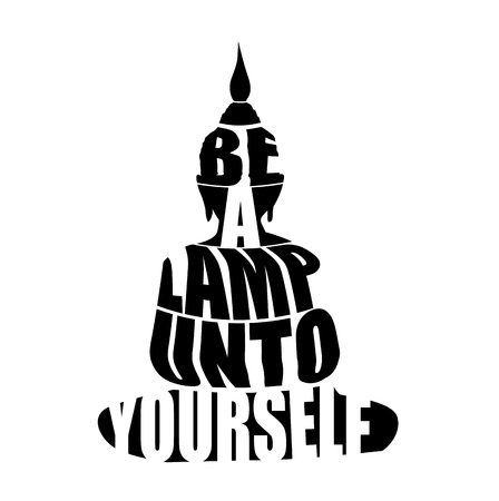 Silhouette of Buddha with inspirational quote,
