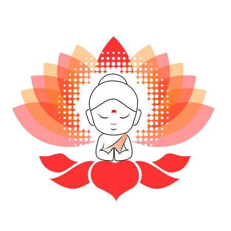Little Buddha meditating on a lotus flower