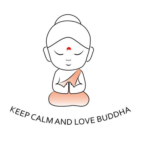 Keep Calm and love Buddha- Cute little sitting Buddha with motivational quote Standard-Bild - 114375993