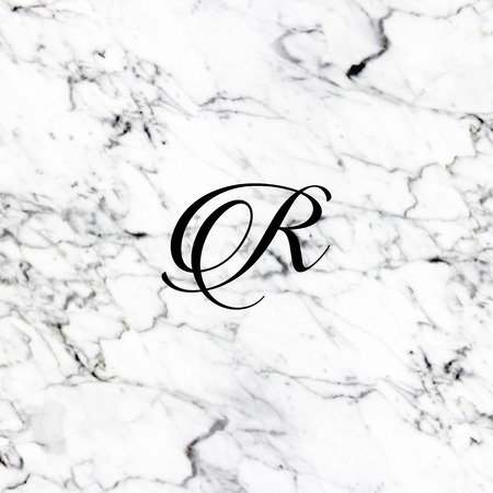 Abstract natural marble texture and alphabet R