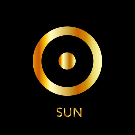 Zodiac and astrology symbol of the planet Sun in gold colors- astronomical icon