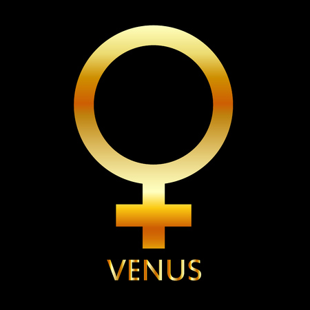 Zodiac and astrology symbol of the planet Venus in gold colors- astronomical icon