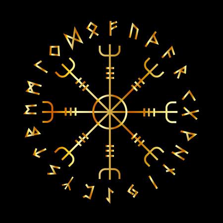 Scandinavian Runic Alphabet with the Vegvisir-the Magic Navigation Compass of ancient Vikings