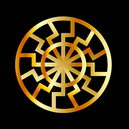 Black Sun symbol in gold- Schwarze Sonne- Occult subculture symbol